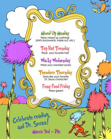 themes for reading day dress up to read across america week seusville