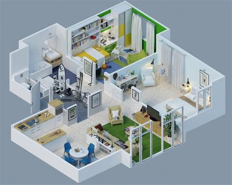 home design 3d story 25 charming 3d apartment plans