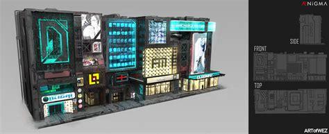 artstation cyberpunk small building callouts derek weselake