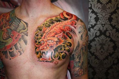 koi fish dragon tattoo on chest awesome tattooshunter com