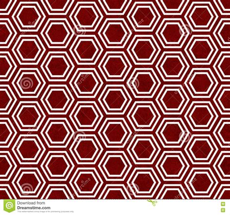 background design repeat red and white hexagon tile pattern repeat background stock