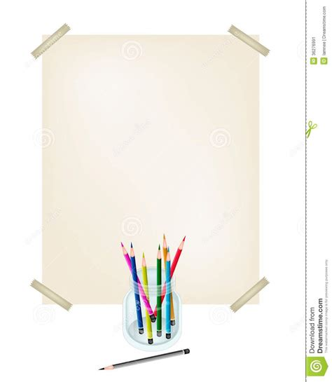 Craft Drawing Paper - colored pencils in a jar with white paper stock