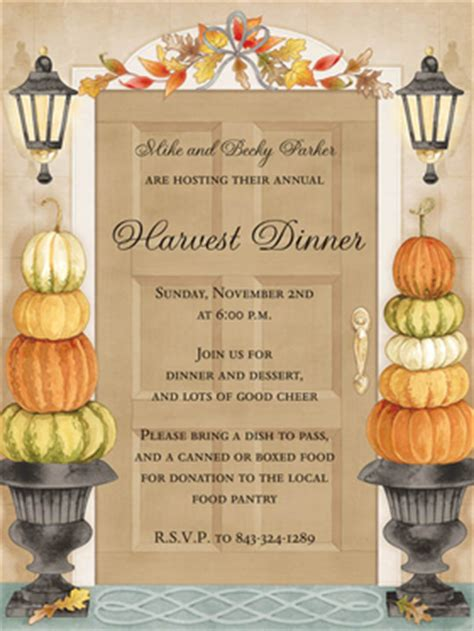 fall themed dinner business invitations seasonal harvest door