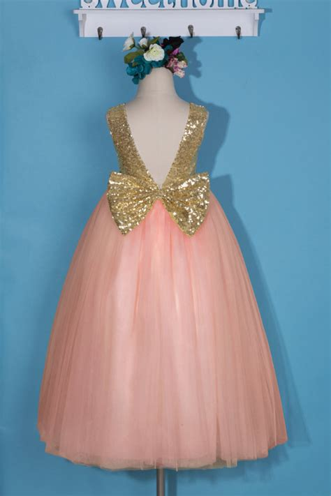 D8090 Dress Pink Flower pink flower dress pink tulle dress with bow gold sequin