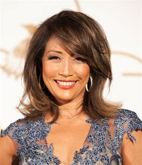 hairstyles with swoop bangs carrie ann inaba medium layered hairstyle with side swept