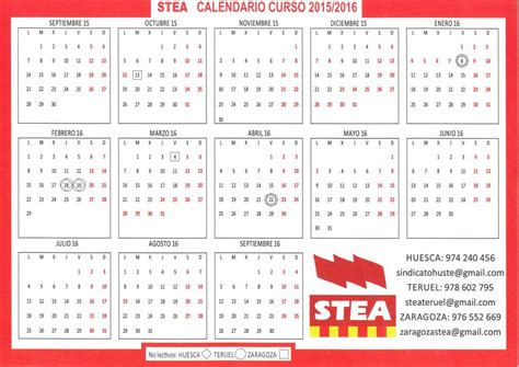 Calendario Escolar Aragon 2016 Pdf Stea I Federaci 243 N De Sindicatos De Trabajadores As De La