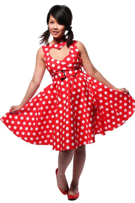 swing sommerkleider 50s sweetheart polkadot swing dress
