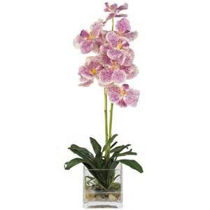 silk vanda orchid in glass vase 4638 pp nearly