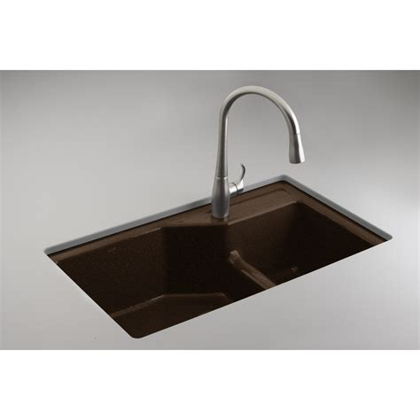 Kohler Undermount Kitchen Sinks Shop Kohler Indio Basin Undermount Enameled Cast Iron Kitchen Sink At Lowes