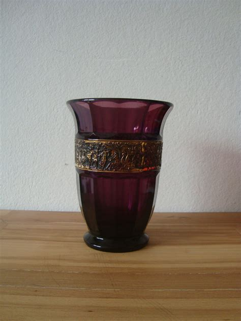 Moser Vases Value by Moser Style Amethyst Glass Vase Signed Walther D R P Ang
