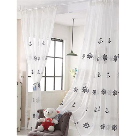 nautical sheer curtains white nautical pinch pleated room divider sheer curtains