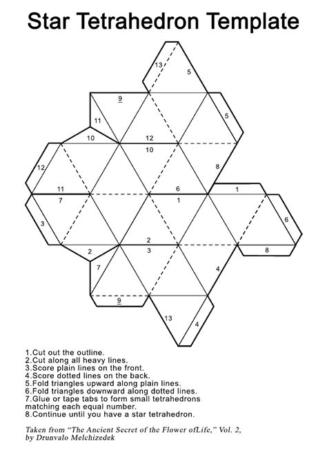 star tetrahedron printout template universe of ones