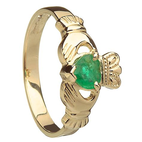 89 14k white gold emerald set claddagh ring