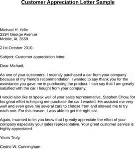 Customer Service Letter Of Appreciation Exle Thank You Letter To Customer For Free Formtemplate