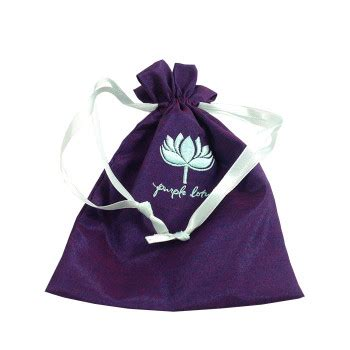 Embroidered Drawstring embroidered satin drawstring jewelry bag