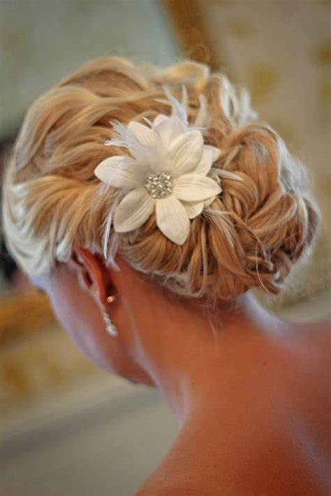white wedding hairstyles custom handmade hair clip pin white flower feather wedding