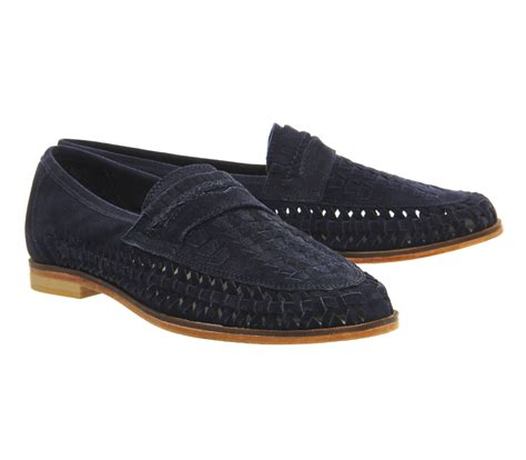 Nike Casual Slip On Suede Navy office bow weave slip on loafers navy suede casual