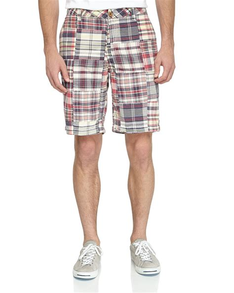 Mens Patchwork Shorts - tailor vintage classic madras patchwork shorts in
