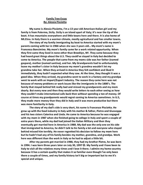 An Essay About Family by Sle Essay Of Family Tree