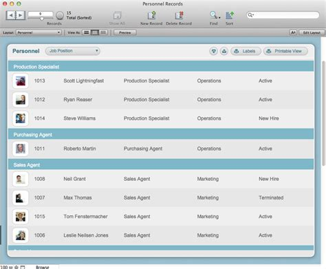 The Mac Office Personnel Records Filemaker Pro 12 Starter Solution Filemaker Pro Records Template