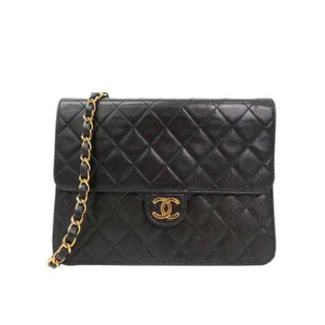 chanel vintage black quilted lambskin leather flap