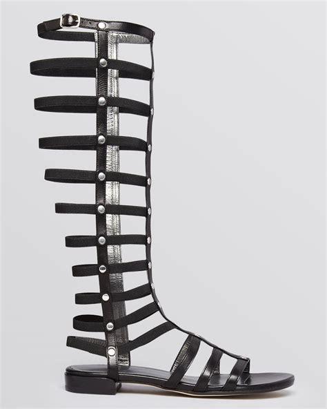 black high gladiator sandals stuart weitzman gladiator knee high sandals in black lyst
