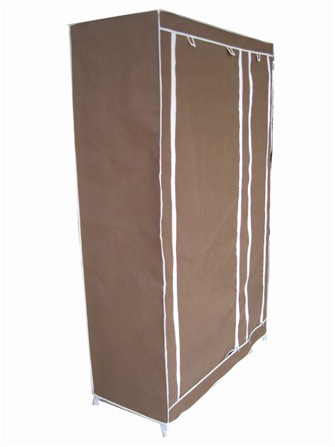Canvas Wardrobe New Brown Canvas Wardrobe Clothes Rail Storage Ebay
