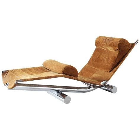 suede chaise paul tuttle chaise longue chariot in chrome and suede