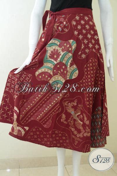 Rok Batik Merah Bahan Katun rok batik modern warna merah til anggun dan elegan