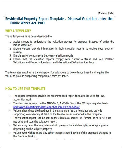 5 Sle Property Valuation Reports Sle Templates Property Valuation Form Template