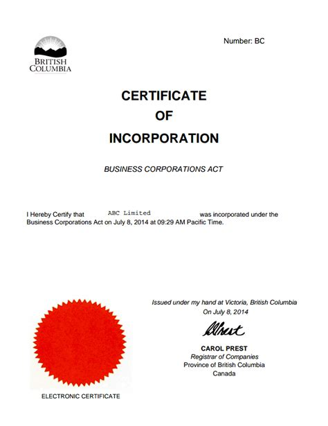 certificate of incorporation template canada columbia offshore zones offshore and