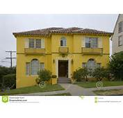 Exterior Shot Of A Bright Yellow House In Oakland CA