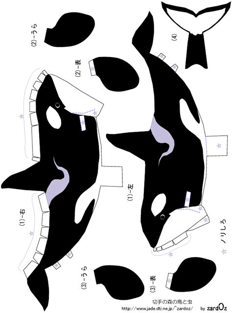 Animal Papercraft - orca killer whale cutouts for seaworld