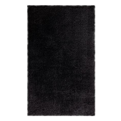 Microfiber Area Rug Chesapeake Merchandising Microfiber Shag Black 5 Ft X 7 Ft Area Rug 79202 The Home Depot