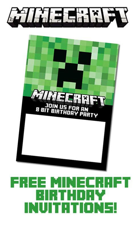 free minecraft birthday invitations just personalize and