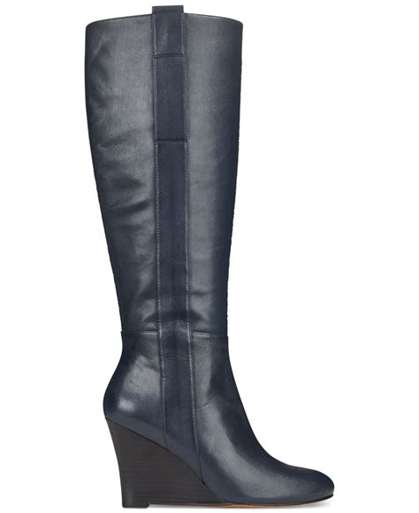 nine west oran wedge boots in blue navy leather lyst