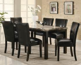 black dining room table set coaster 102260 102262 brown wood and marble dining