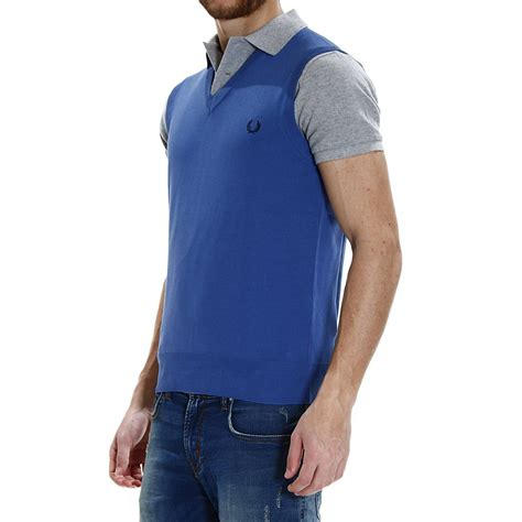 Basic Sweater Polos 2 lyst fred perry sweater knit v sleeveless garment dyed or yarn dyed capo basic in blue for
