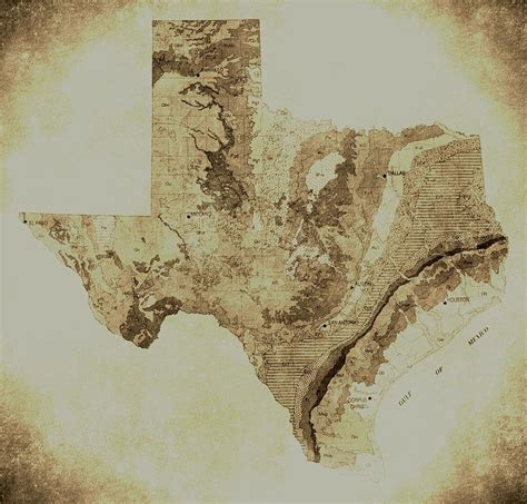 vintage texas map map of texas in vintage by broadmeadow