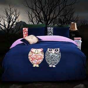 Owl Bedding For Adults Dark Blue Owl Comforter Queen Twin King Size Korean Design