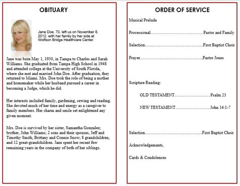memorial service templates free funeral service program template