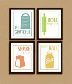 Kitchen Cabinet Quote Set Of 4 Clever Illustrated Kitchen Sayings Typography Kitchen Posters And Cabinets