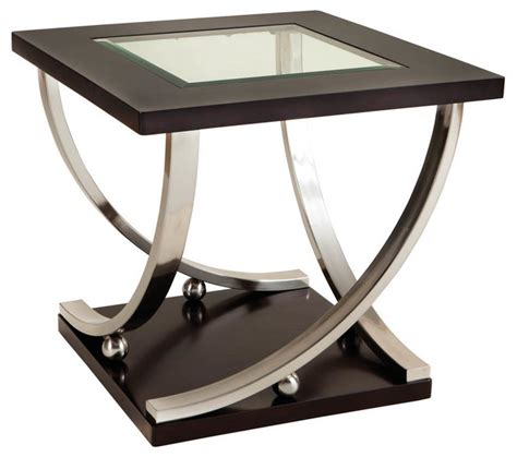 glass top accent tables melrose square glass top end table dark merlot side