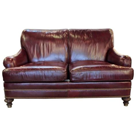 hancock and leather sofa cordivan leather small sofa by hancock and at 1stdibs