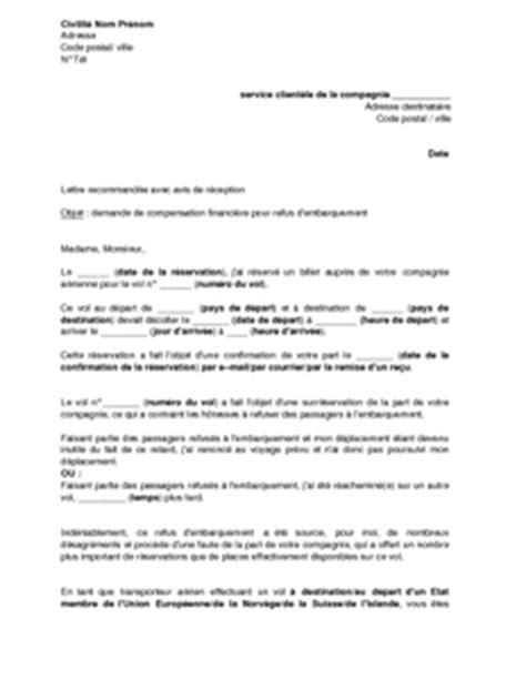 Exemple De Lettre De Demande De Visa Lettre De Demande De Compensation Financi 232 Re Pour Refus D Embarquement Mod 232 Le De Lettre
