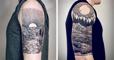 tattoo artist s signature linework depicts mythical scenes