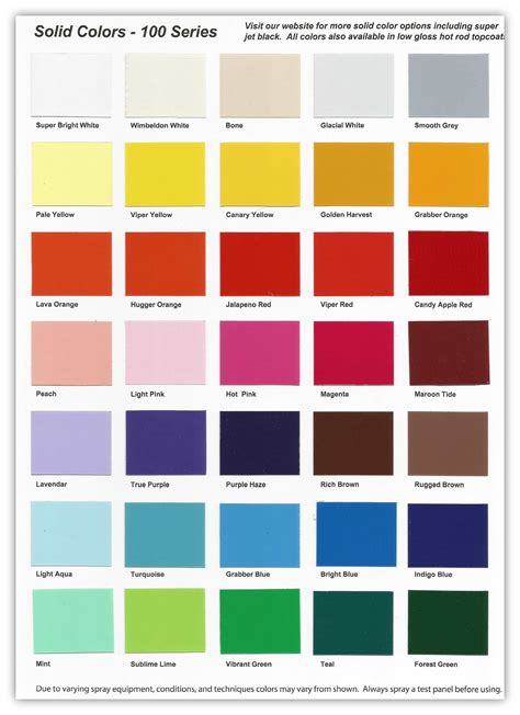 100 series solid color chart buy custom paint for your color mixing colour