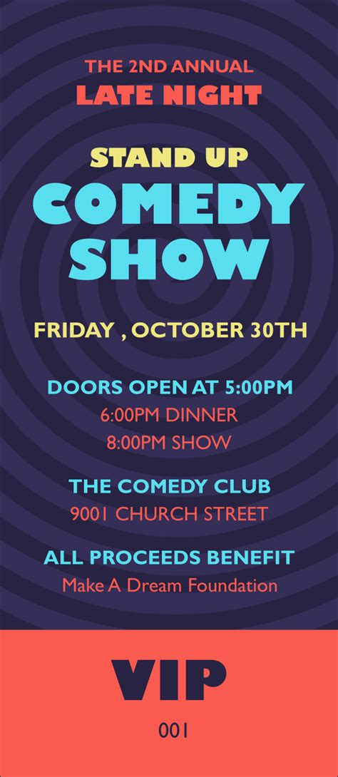 Comedy Spirals Vip Pass Comedy Show Ticket Template