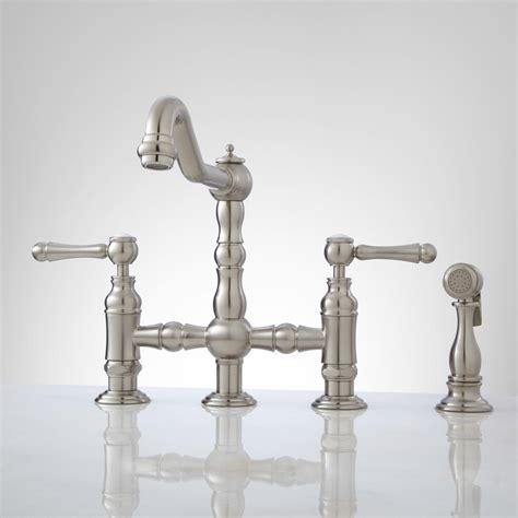 famous bridge kitchen faucet with pull down spray best bridge faucet with pull down sprayer
