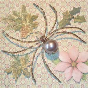 pink and silver beaded spider ornament merriamelie